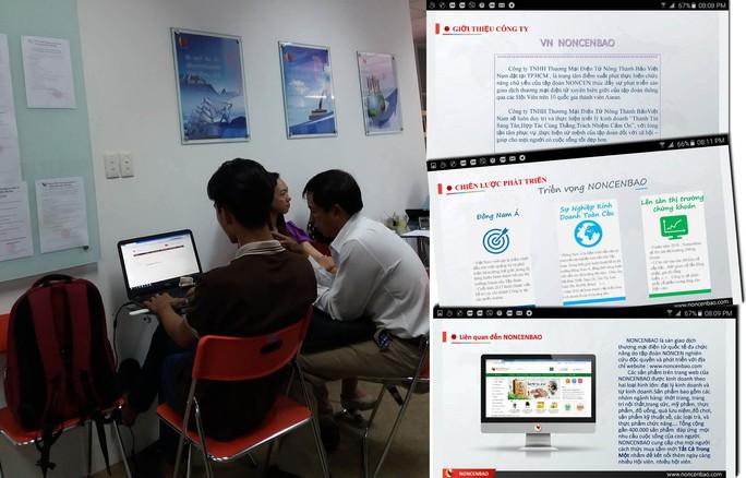 """Người dân đến tìm hiểu về cách thức đầu tư và kiếm tiền từ sàn noncenbao.com. Ảnh nhỏ: Những lời quảng cáo """"có cánh"""" về Noncenbao trên website noncenbao.com"""