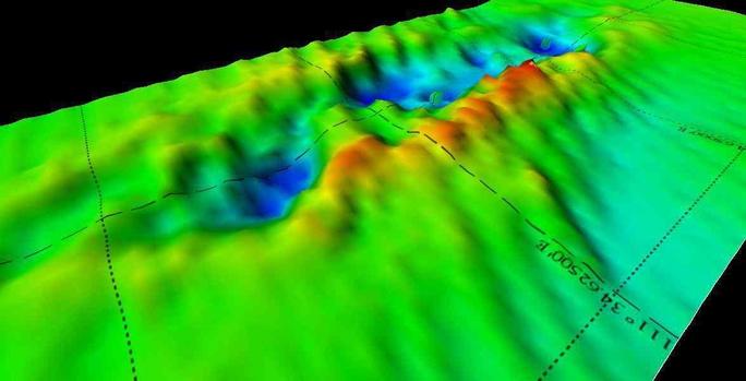 Lỗ hổng ở đáy biển nơi con tàu HMS Exeter từng nằm. Ảnh: Guardian