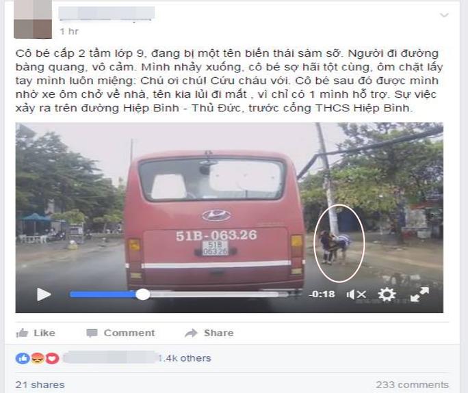Những ngày trước đó trên mạng xã hội lan truyền video cho rằng nữ sinh bị sàm sỡ.