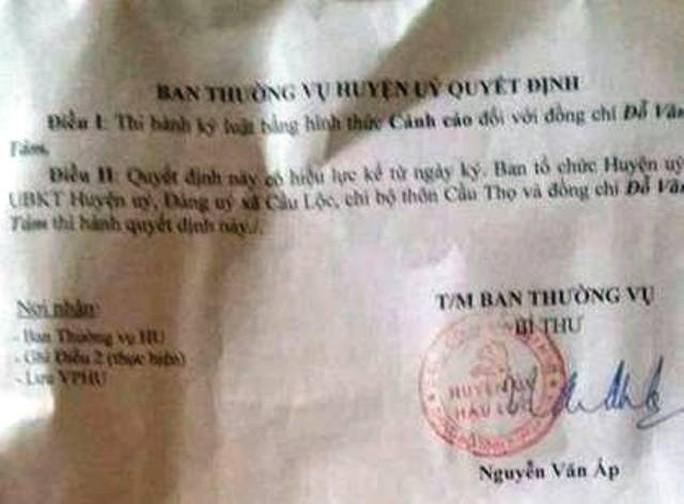 Quyết định kỷ luật cảnh cáo đối với ông Đỗ Văn Tám, Chủ tịch UBND xã Cầu Lộc, huyện Hậu Lộc