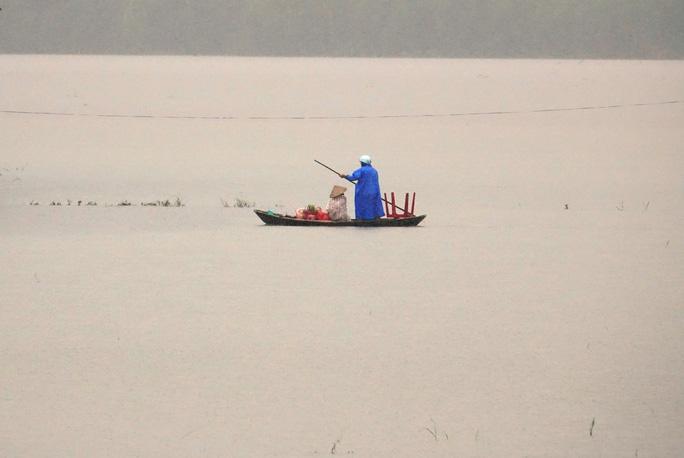 Sáng 8-12 mực nước trên hầu hết các sông trên địa bàn tỉnh Quảng Ngãi dao động ở mức báo động 3. Ảnh: Tử Trực
