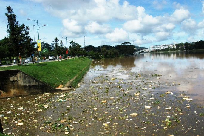 Hồ Xuân Hương Đà Lạt ngập tràn rác thải nông nghiệp.