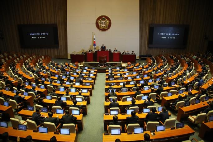 Quốc hội tiến hành bỏ phiếu về kiện nghị luận tội Tổng thống Park. Ảnh:Yonhap