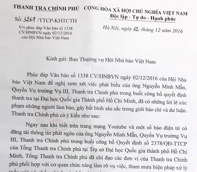 Công văn Thanh tra Chính phủ gửi Hội Nhà báo Việt Nam