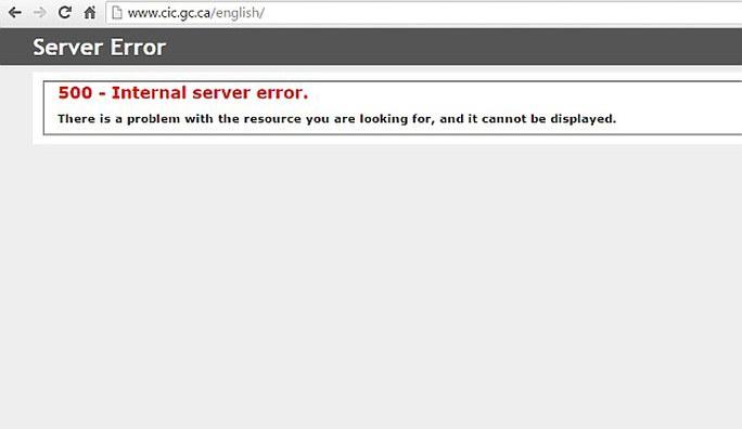 Trang web nhập cư của Canada báo lỗi tối 8-11. Ảnh: Daily Mail