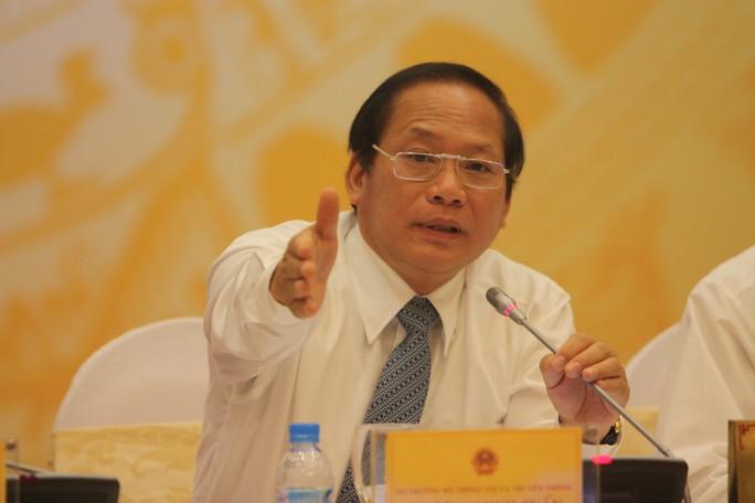 Bộ trưởng Bộ Thông tin và Truyền thông Trương Minh Tuấn tại buổi họp báo Chính phủ thường kỳ chiều 4-10 Ảnh: NHẬT BẮC