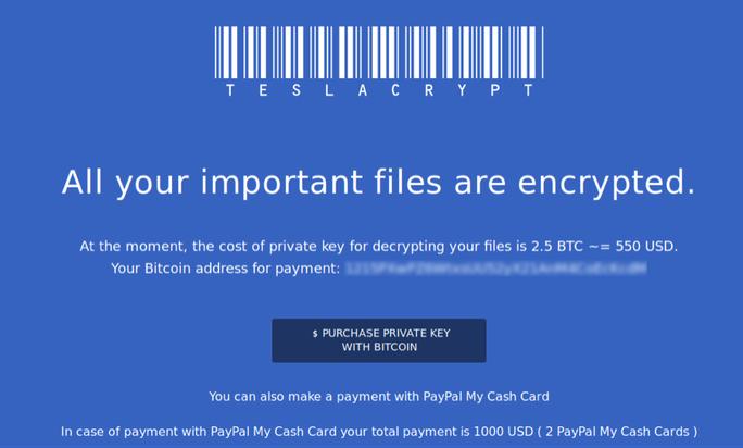 Một thông báo đòi tiền chuộc để giải mã dữ liệu từ mã độc tống tiền.