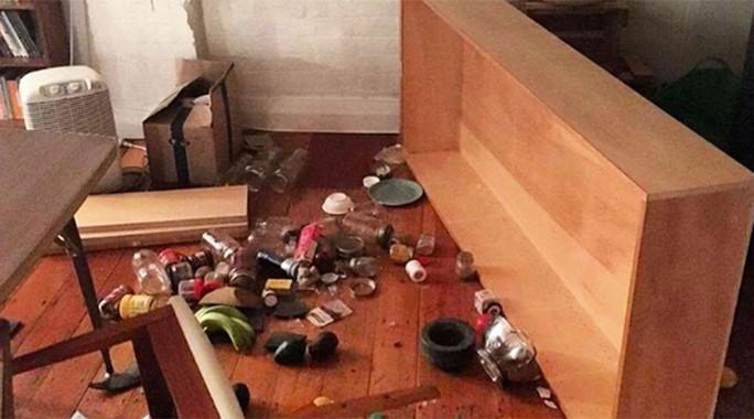 Đồ đạc rơi xuống sàn. Ảnh: Instagram