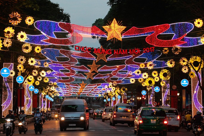 Đường Lê Duẩn từ Thảo Cầm Viên đến Hội trường thống nhất trở nên rực rỡ bởi những mô hình đèn bông hoa hướng dương cùng với cờ treo hai bên