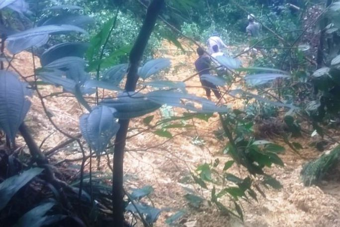 Điểm sạt lở nằm gọn trên đất Nghệ An, cách thôn Chiềng Cà 2 khoảng 12 - 15 km đường rừng