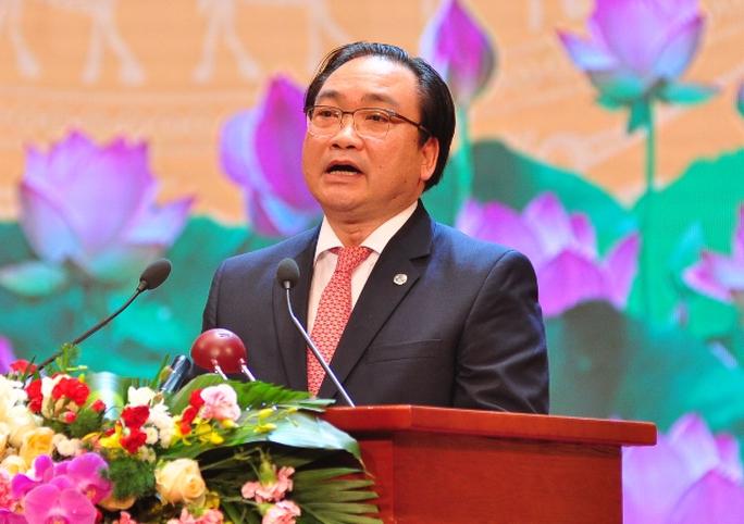 Bí thư Thành ủy Hà Nội Hoàng Trung Hải trình bày diễn văn tại Lễ Kỷ niệm