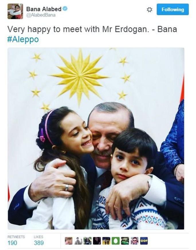 Bé Bana cũng chia sẻ hình ảnh gặp tổng thống Thổ Nhĩ Kỳ trên Twitter. Ảnh: Twitter