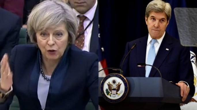 Chính quyền Thủ tướng Anh Theresa May chỉ trích Ngoại trưởng Mỹ John Kerry. Ảnh: REUTERS