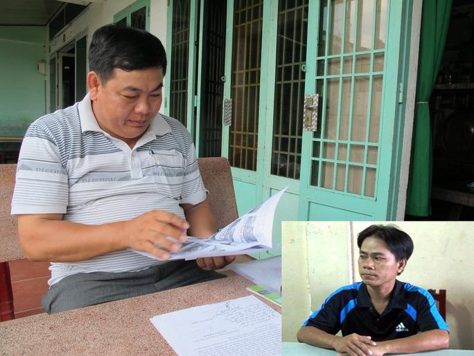 Ông Đinh Văn Liêm (cha nạn nhân) trình bày vụ việc với phóng viên (ảnh lớn) và bị can Huỳnh Văn Tuấn