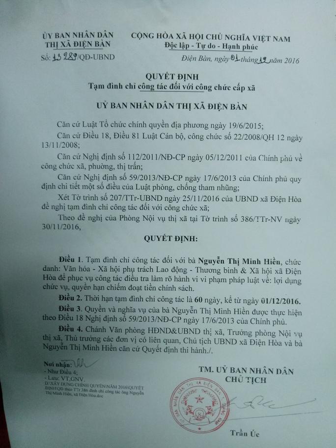 Bà Nguyễn Thị Minh Hiền bị tạm đình chỉ công tác để phục vụ việc điều tra làm rõ hành vi lợi dụng chức vụ, quyền hạn chiếm đoạt tiền thờ cúng liệt sĩ