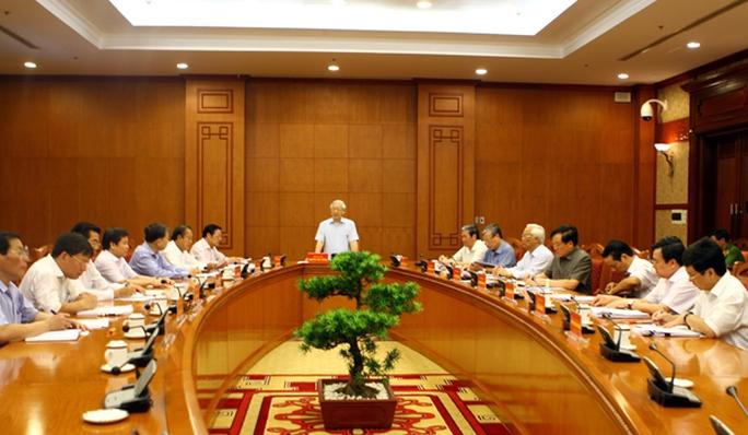 Tổng Bí thư Nguyễn Phú Trọng, Trưởng Ban Chỉ đạoTrung ương về phòng, chống tham nhũng, chủ trì phiên họp của ban này ngày 1-10 - Ảnh: Nội Chính