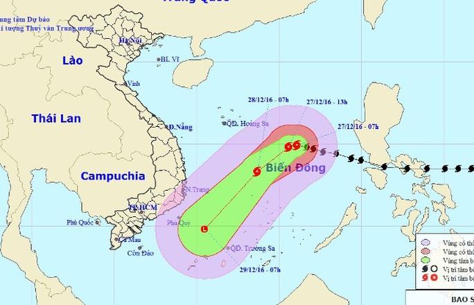 Vị trí và dự báo đường đi của bão số 10 - Nguồn: Trung tâm Dự báo khí tượng thuỷ văn Trung ương