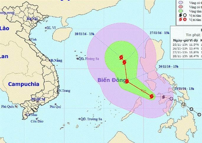 Vị trí và dự báo đường đi của cơn bão mới - Nguồn: Trung tâm Dự báo khí tượng thủy văn Trung ương
