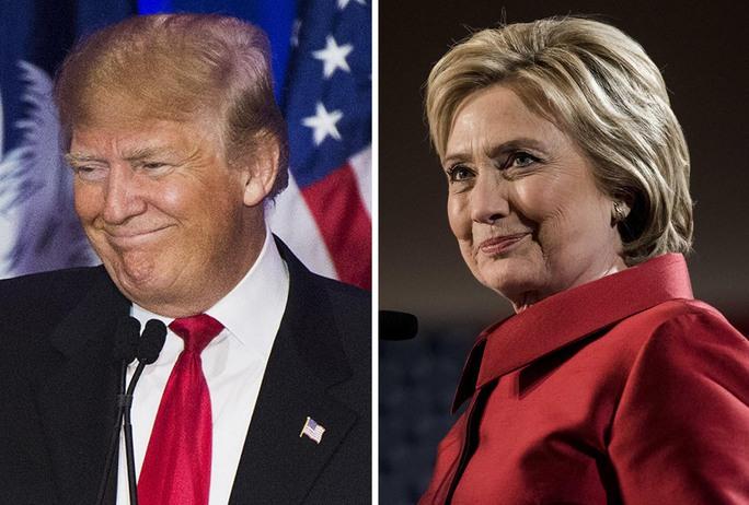 Hai ứng viên tổng thống Mỹ Donald Trump và Hillary Clinton Ảnh: The Washington Post