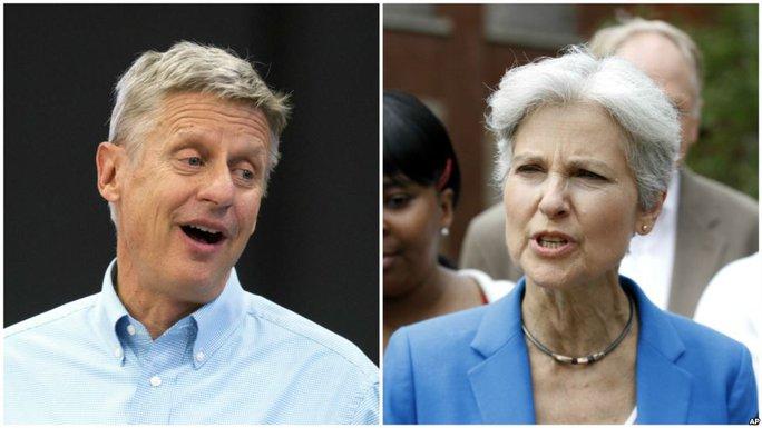 2 ứng viên Gary Johnson và Jill Stein. Ảnh: AP