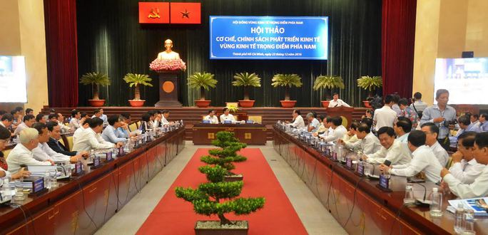 """Toàn cảnh hội thảo """"Cơ chế, chính sách phát triển kinh tế Vùng kinh tế trọng điểm phía Nam"""" tại TP HCM sáng 23-12. Ảnh: Tấn Thạnh"""