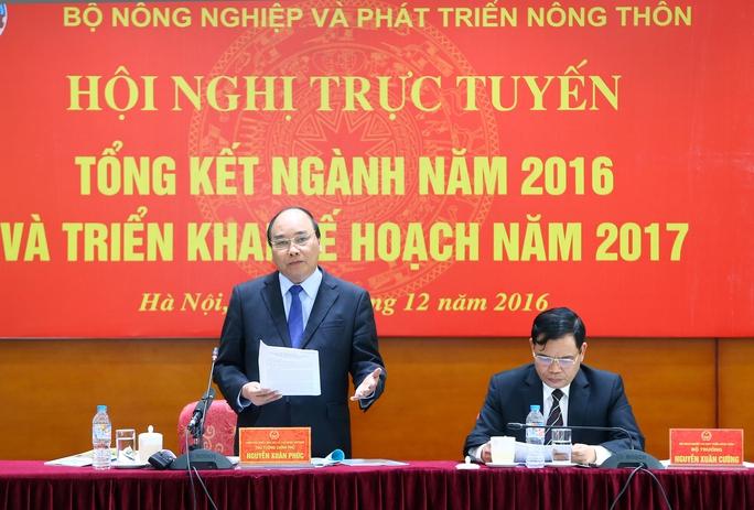 Thủ tướng Nguyễn Xuân Phúc phát biểu chỉ đạo tại hội nghị tổng kết ngành nông nghiệp phát triển nông thônẢnh: TTXVN
