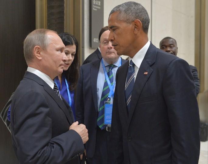 Tổng thống Nga Vladimir Putin gặp Tổng thống Mỹ Barack Obama tại Hội nghị Thượng đỉnh G20 ở Trung Quốc hồi tháng 9-2016 Ảnh: AP