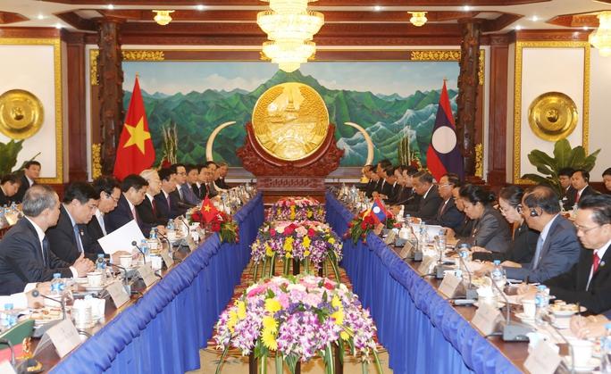 Tổng Bí thư Nguyễn Phú Trọng hội đàm với Tổng Bí thư, Chủ tịch nước Lào Bounnhang Vorachith. Ảnh: TTXVN