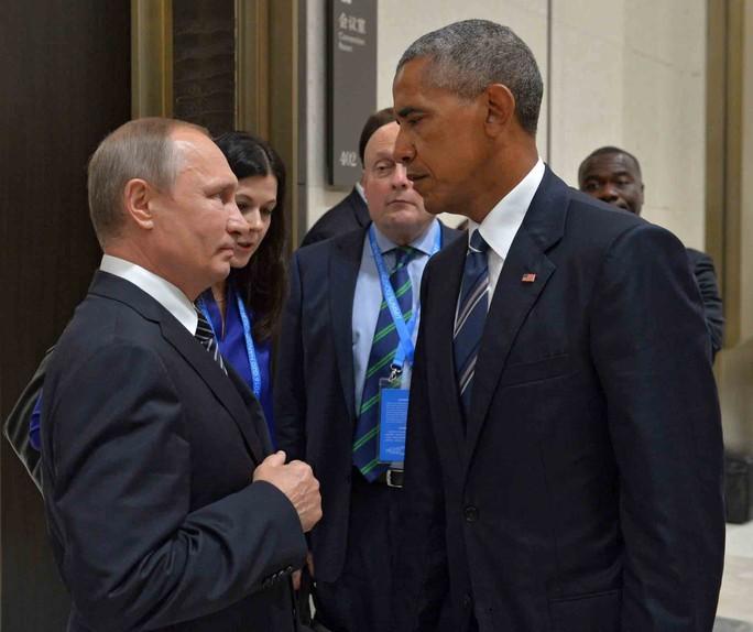 Tổng thống Nga Vladimir Putin (trái) và Tổng thống Mỹ Barack Obama trong cuộc gặp bên lề Hội nghị Thượng đỉnh G-20 ở Hàng Châu (Trung Quốc) hồi tháng 9Ảnh: EPA