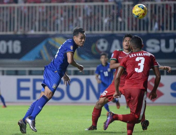 Dangda trong pha ghi bàn cho Thái Lan ở trận lượt đi Ảnh: ASEAN FOOTBALL