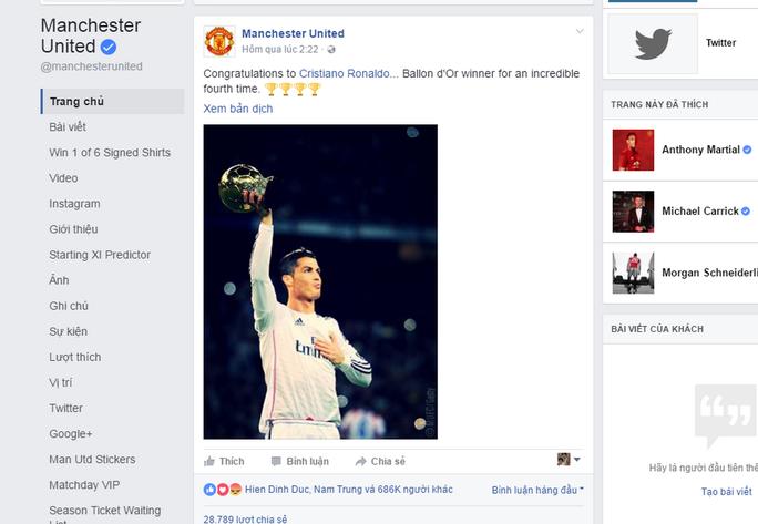 Lời chúc mừng gây bão của Man United dành cho người cũ Ronaldo
