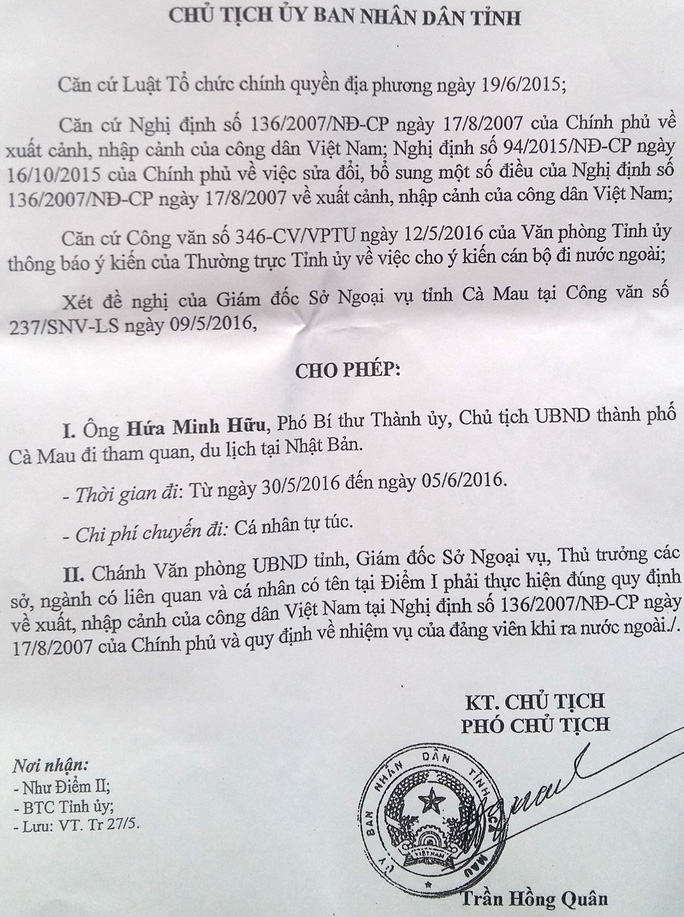 Quyết định của lãnh đạo UBND tỉnh Cà Mau cho phép ông Hữu đi Nhật bằng kinh phí tự túc
