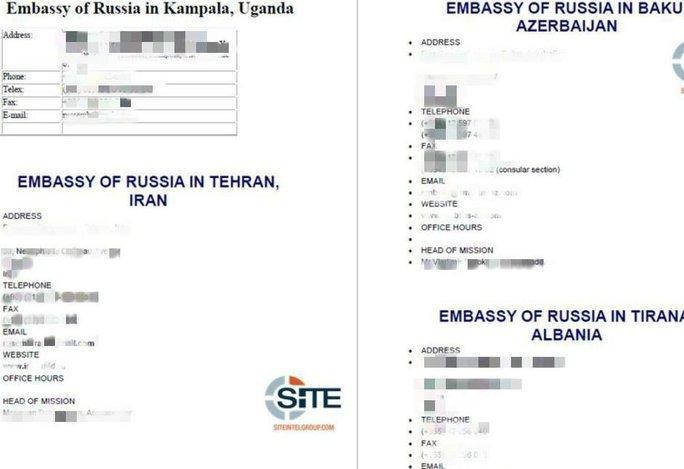 IS loan truyền địa chỉ và thông tin liên lạc của các đại sứ quán Nga trên thế giới. Ảnh: Twitter