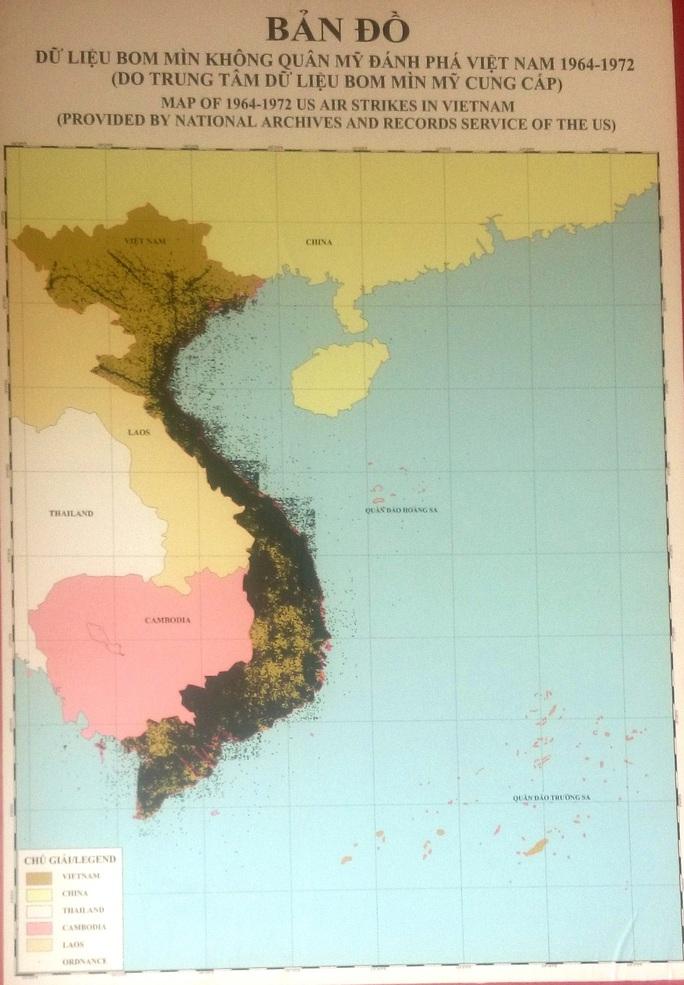 Bản đồ dữ liệu bom mìn Mỹ đánh phá Việt Nam những năm 1964-1972