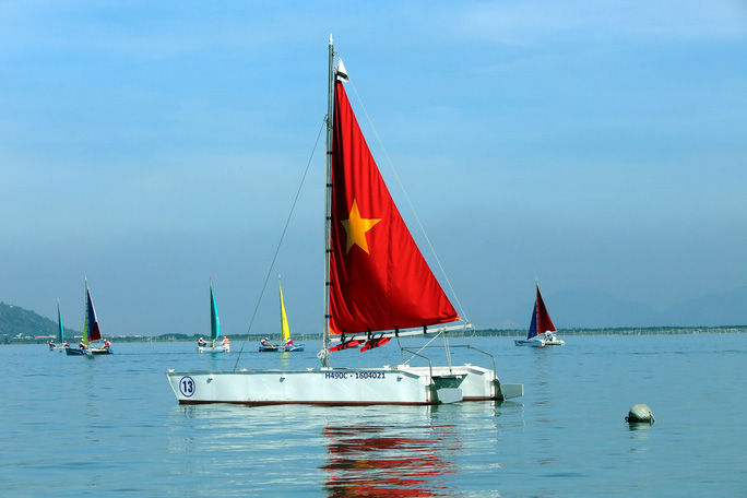 Thuyền đua là loại thuyền 2 thân (catamaran) được làm bằng công nghệ PPC do Công ty CP Công nghệ Việt Séc tự nghiên cứu và chế tạoẢnh: Ngọc Linh