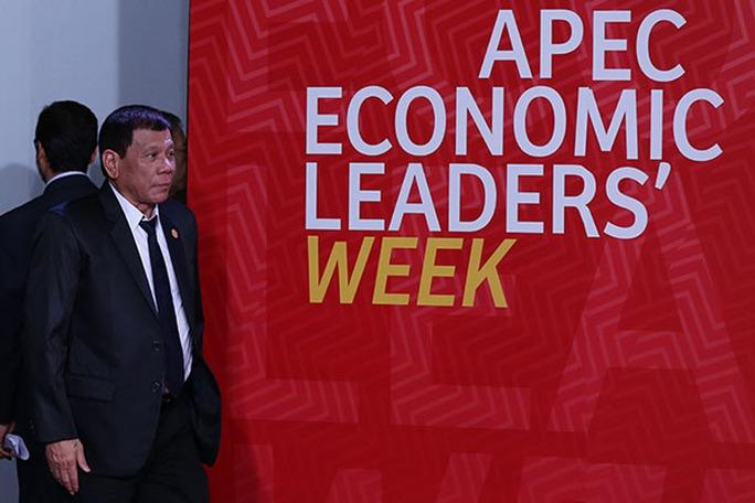 Tổng thống Philippines Rodrigo Duterte tại Hội nghị Thượng đỉnh Diễn đàn Hợp tác Kinh tế châu Á - Thái Bình Dương (APEC) ở Peru hôm 19-11. Ảnh: Presidential Photo