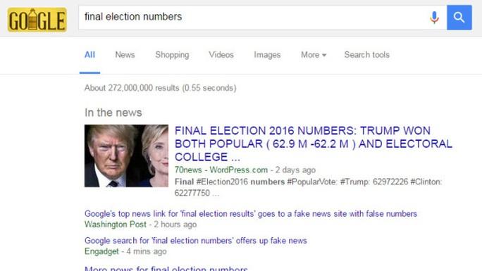 Ảnh chụp màn hình cho thấy Google hiển thị ở vị trí đầu tiên thông tin sai nói rằng ông Trump thắng phiếu phổ thôngẢnh: CBS