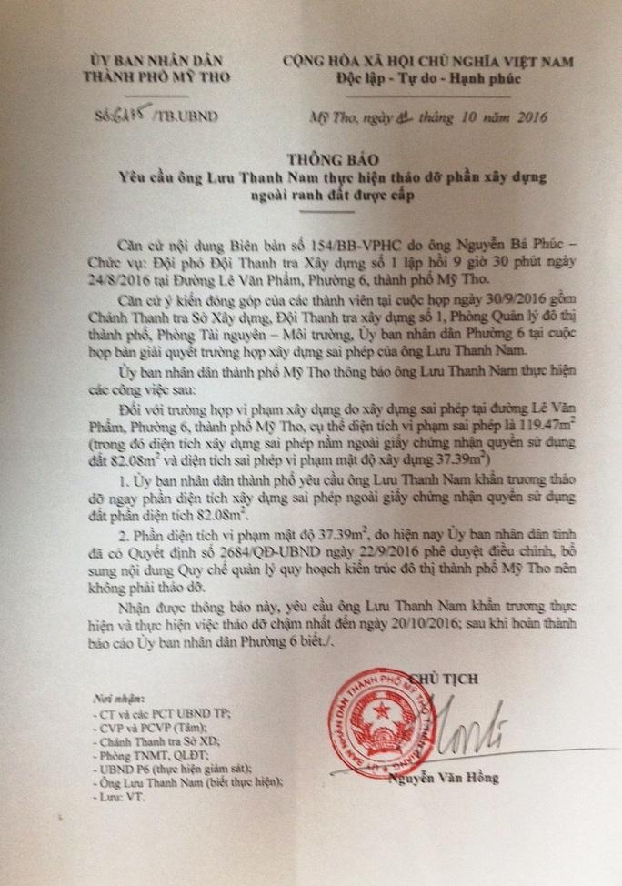 Văn bản chủ tịch UBND TP Mỹ Tho yêu cầu tháo dỡ phần đất công mà ông Nam lấn chiếm nhưng ông vẫn bất chấp pháp luật