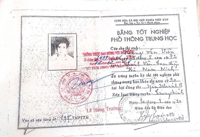 Bằng tốt nghiệp THPT giả ông Viên dùng để đi học Trung cấp chính trị