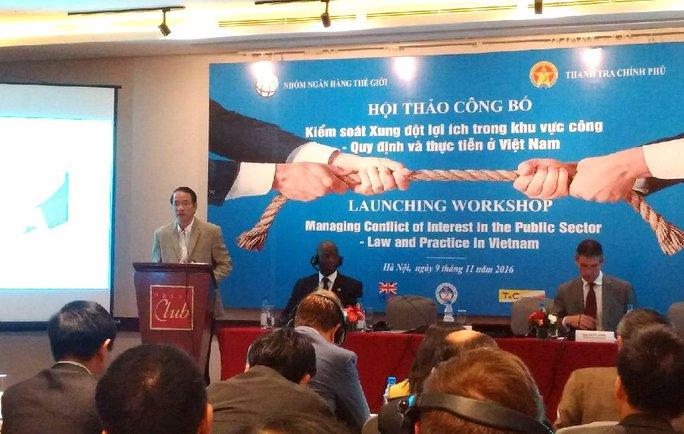 Ông Nguyễn Văn Thanh, Phó Tổng Thanh tra Chính phủ, phát biểu tại buổi công bố