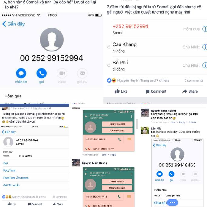 Hàng loạt người dùng phản ánh trên Facbook bị các đầu số từ Somali liên tục nhá máy.
