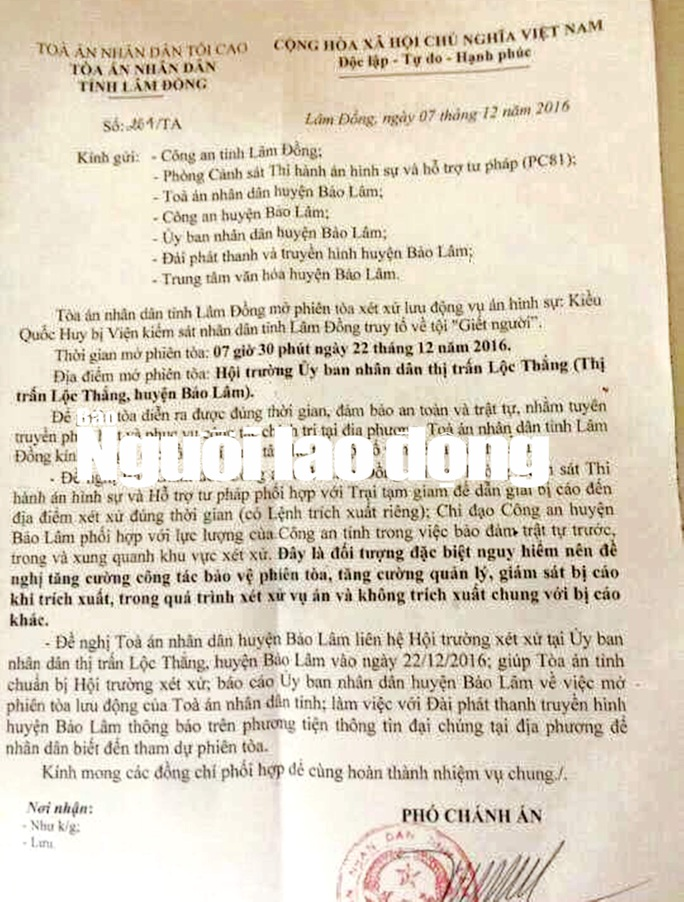 ĐÚng 7 giờ 30 ngày 22-12-2016 sẽ xét xử lưu động đối với Kiều Quốc Huy can tội Giết người.