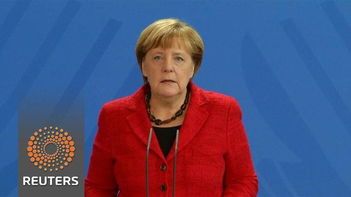 Thủ tướng Đức Angela Merkel trong video chúc mừng ông Trump. Ảnh: REUTERS