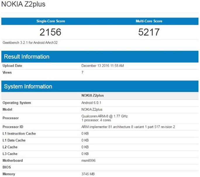 Thông số đánh giá hiệu năng mới nhất của chiếc Nokia Z2plus