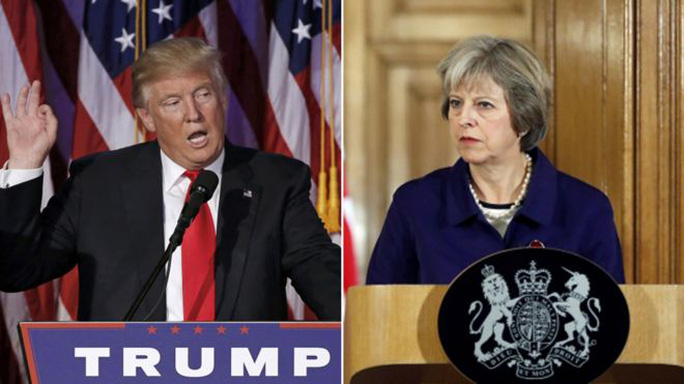 Tân Tổng thống Mỹ Donald Trump và Thủ tướng Anh Theresa May. Ảnh: Reuters