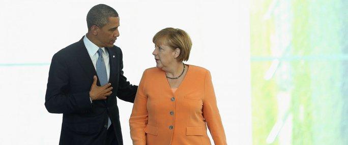 Ông Obama và bà Merkel. Ảnh: AP