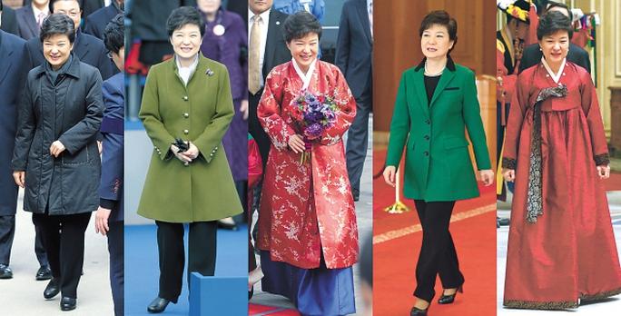 Báo chí Hàn Quốc thống kê bà Park thay 5 bộ trang phục trong ngày nhậm chức 25-2-2013. Ảnh: Korea Herald