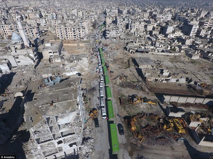 Đoàn xe đưa người sơ tán khỏi Aleppo. Ảnh: Daily Mail