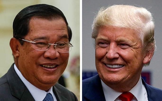 Thủ tướng Campuchia Hun Sen (trái) kêu gọi chính quyền sắp tới của Tổng thống đắc cử Mỹ Donald Trump xóa nợ chiến tranh cho Campuchia. Ảnh: Reuters