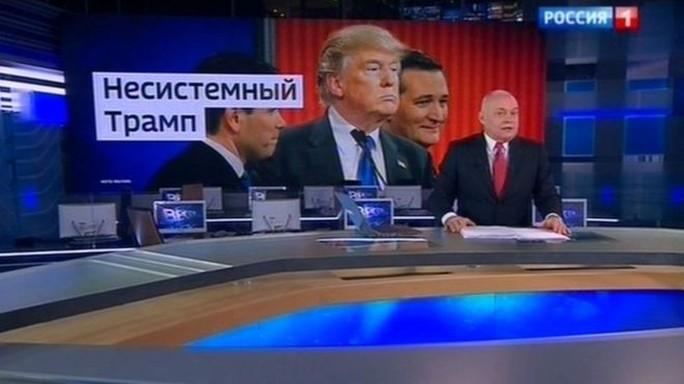 Ông Dmitry Kiselyov, người dẫn chương trình trên kênh truyền hình quốc gia Nga Rossiya-24 Ảnh: ROSSIA 1